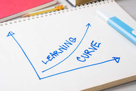 Photo pour Closeup handwriting of Learning Curve graph on notebook as potential of learning concept - image libre de droit
