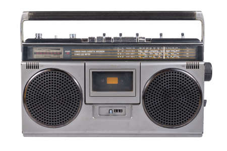 Photo for Retro portable radio, outdated stereo boombox with cassette player isolated on white background - Royalty Free Image