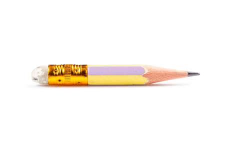 Foto de Very short pencil in old condition isolated on white background - Imagen libre de derechos