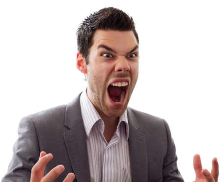 Very angry man screaming out loud, great expression