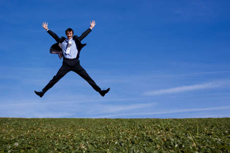 Photo for Happy jumping businessman - Royalty Free Image