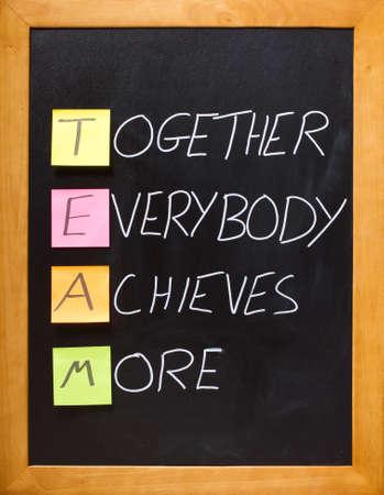 Fun, motivational team acronym on a classroom blackboard