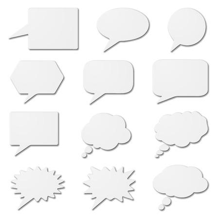 Illustration pour speech bubbles as white cardboard - image libre de droit