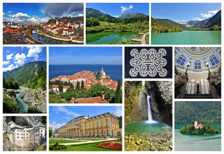 Collage of some of the most beautiful Slovenian rivers, lakes and waterfalls