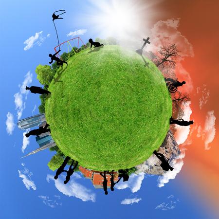 Photo pour Human life circle, concept on a globe, aging. - image libre de droit