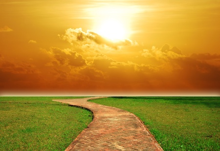 way background sunset brick walkway sun destination lawn green grass