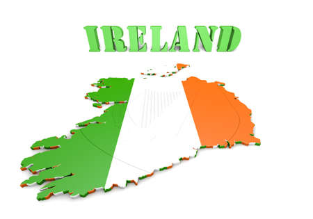 3D map illustration of Ireland with flag and coat of arms
