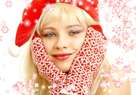 pretty girl in christmas hat with rendered snowflakes