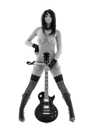 monochrome picture of naked girl with black electric guitar over white