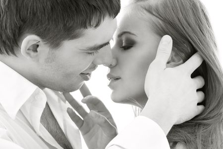 monochrome picture of couple in love over white