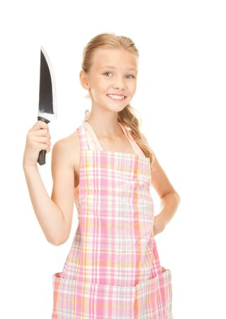 picture of little housewife with big knifeの写真素材