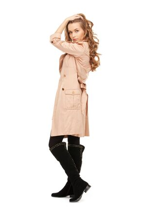 bright picture of lovely woman in coat