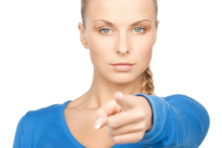 picture of attractive businesswoman pointing her finger.の写真素材