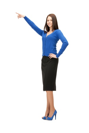 picture of attractive businesswoman pointing her fingerの写真素材