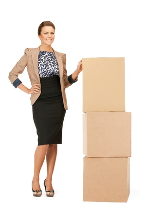picture of attractive businesswoman with big boxesの写真素材