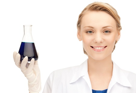 picture of beautiful lab worker holding up test tube