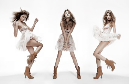 Photo for triple image of the same fashion model in different poses - Royalty Free Image
