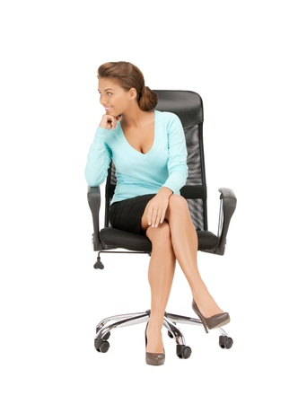 picture of young businesswoman sitting in chairの写真素材