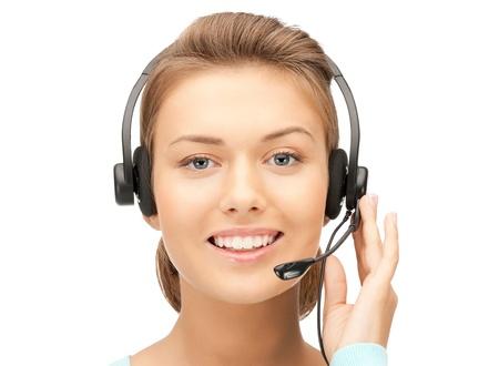 bright picture of friendly female helpline operator