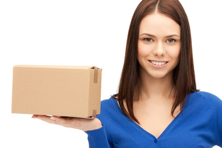 picture of attractive businesswoman with cardboard boxの写真素材