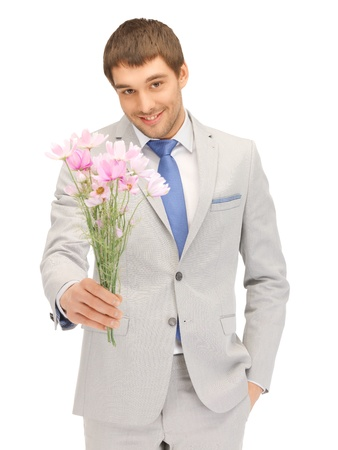 picture of handsome man with flowers in hand