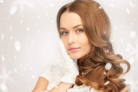 picture of beautiful woman in white gloves