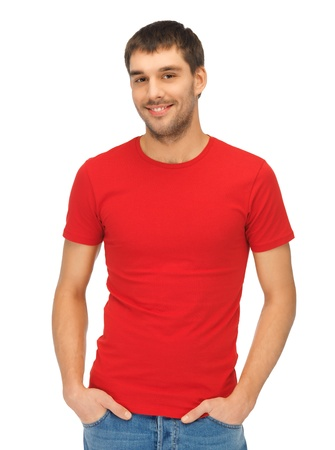 bright picture of handsome man in red shirt