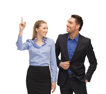 bright picture of man and woman pointing their fingers