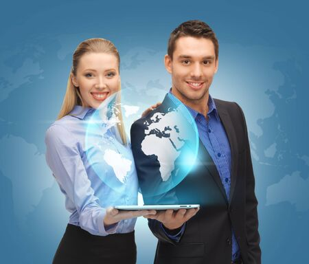 Photo pour picture of man and woman with tablet pc and virtual globe  - image libre de droit