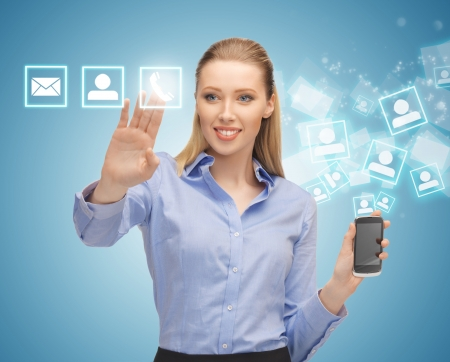 bright picture of woman with smartphone