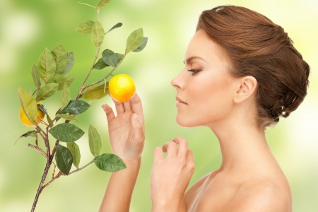 picture of lovely woman with lemon twig