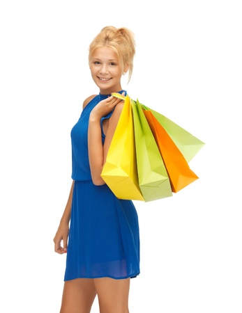 picture of happy teenage girl with shopping bagsの写真素材