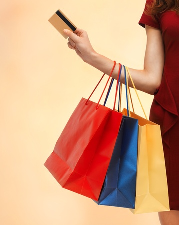 closeup or picture of woman with shopping bags