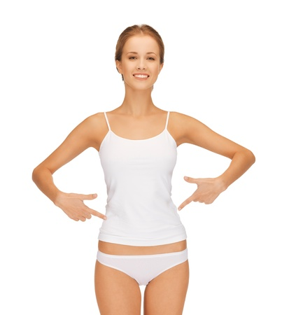 picture of woman in blank shirt pointing at her belly