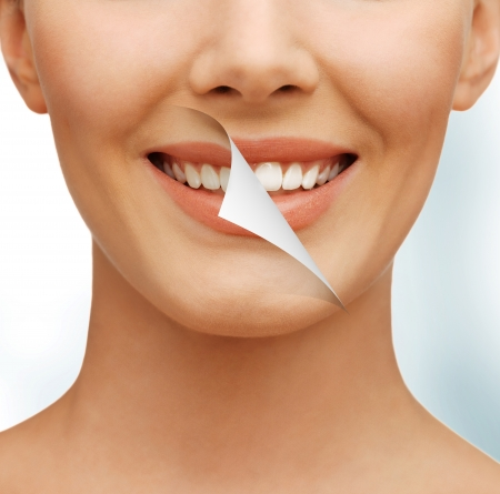 picture of beautiful woman with white teethの写真素材
