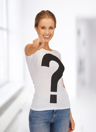 picture of happy and smiling woman pointing her finger