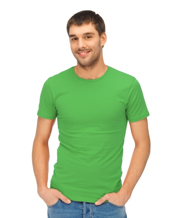 bright picture of handsome man in green shirt