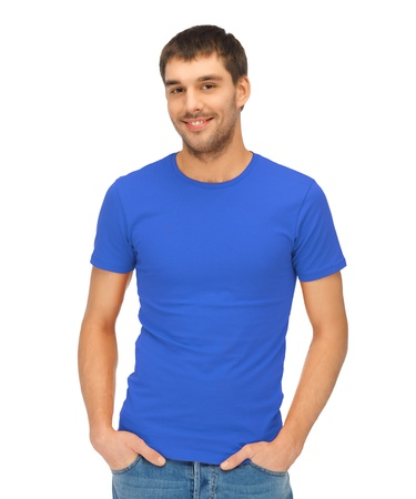 bright picture of handsome man in blue shirt