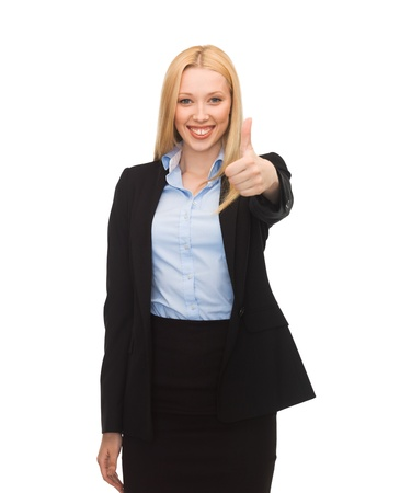 bright picture of young businesswoman with thumbs up
