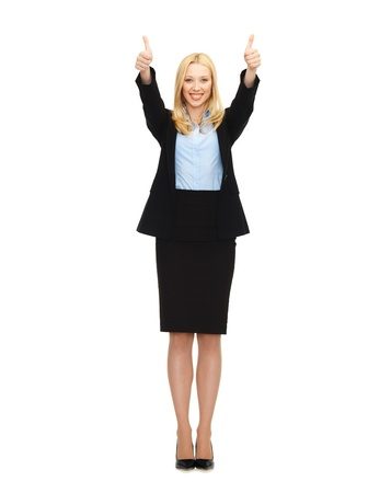 business and education - young businesswoman with thumbs up