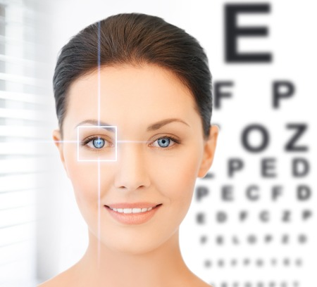 future technology, medicine and vision concept - woman and eye chart