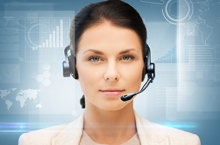 Foto de business, office, technology, future concept - friendly female helpline operator - Imagen libre de derechos