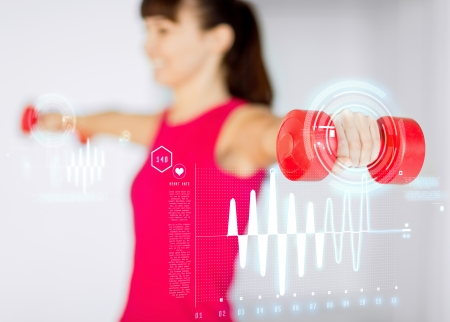 sport, fitness, training and happiness concept - sporty woman hands with light red dumbbells