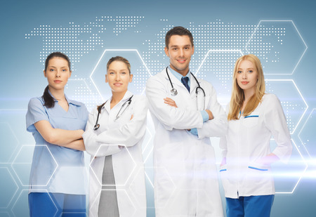 healthcare and medicine concept - young team or group of doctors