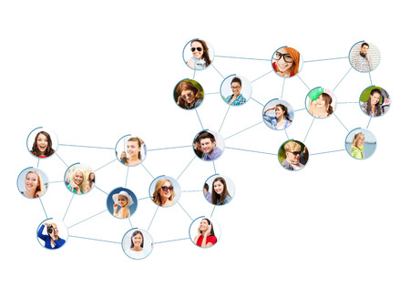 business and networking concept - social network with men and women