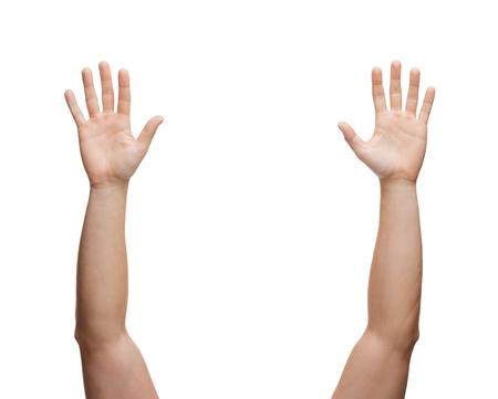 Photo pour gesture and body parts concept - two man hands waving hands - image libre de droit