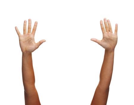 Photo pour gesture and body parts concept - two woman hands waving hands - image libre de droit