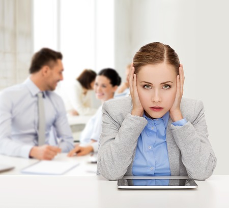 business, technology, internet and office concept - stressed businesswoman with tablet pc computer