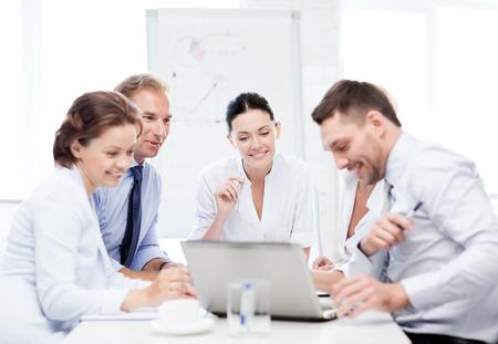 friendly business team having meeting in office