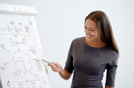 Photo pour business and people concept - smiling businesswoman pointing marker to flipboard on presentation in office - image libre de droit